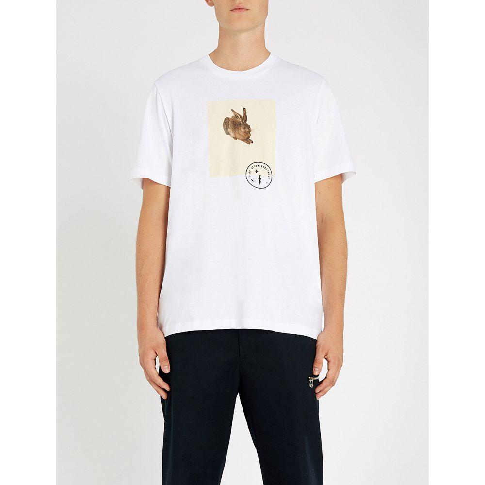 オーエーエムシー oamc メンズ トップス Tシャツ【hare printed cotton-jersey t-shirt】White