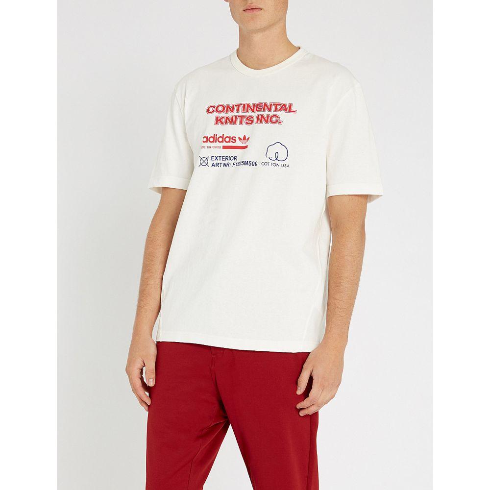 アディダス adidas メンズ トップス Tシャツ【kaval logo-print cotton-jersey t-shirt】Cloud white