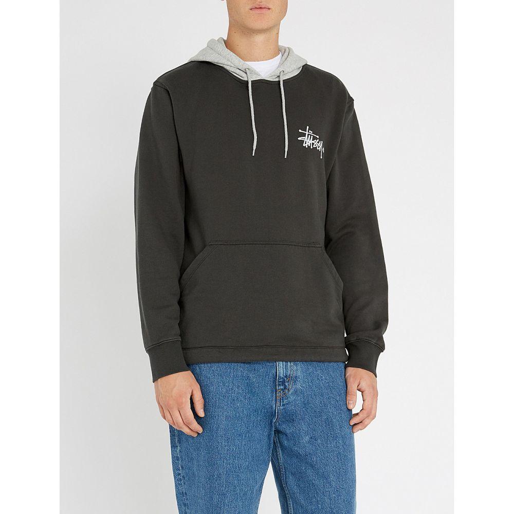 ステューシー stussy メンズ トップス パーカー【two-tone cotton-jersey hoody】Black