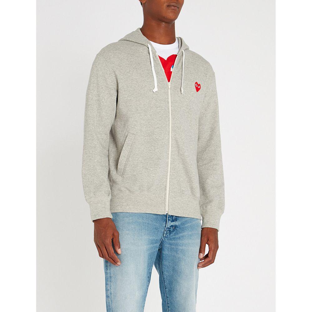 コム デ ギャルソン comme des garcons play メンズ トップス パーカー【logo-embroidered cotton-jersey hoody】Top gray