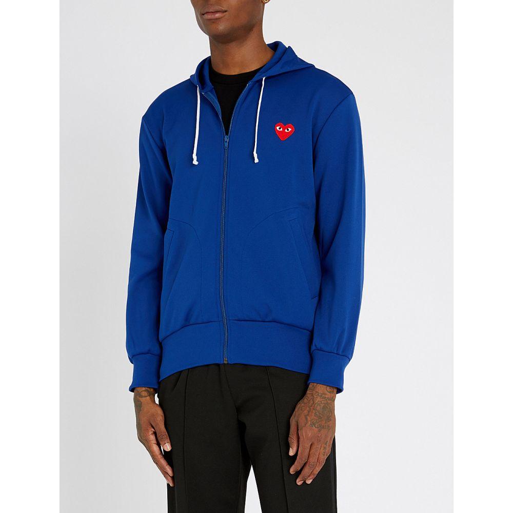 コム デ ギャルソン comme des garcons play メンズ トップス パーカー【logo-embroidered jersey hoody】Blue