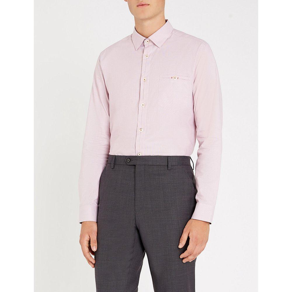 テッドベーカー ted baker メンズ トップス シャツ【slim-fit stretch-cotton shirt】Pink
