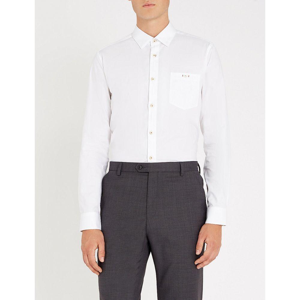 テッドベーカー ted baker メンズ トップス シャツ【slim-fit stretch-cotton shirt】White