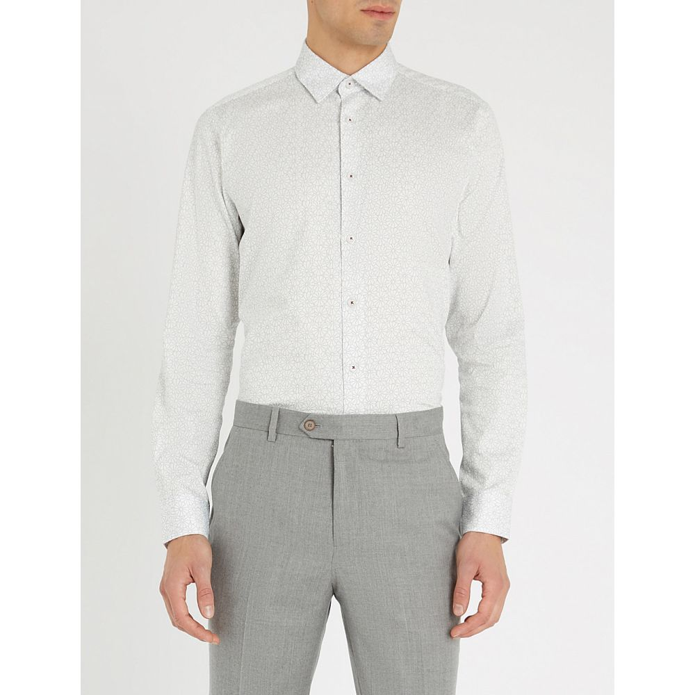 テッドベーカー ted baker メンズ トップス シャツ【finsbur regular-fit floral-print cotton shirt】White