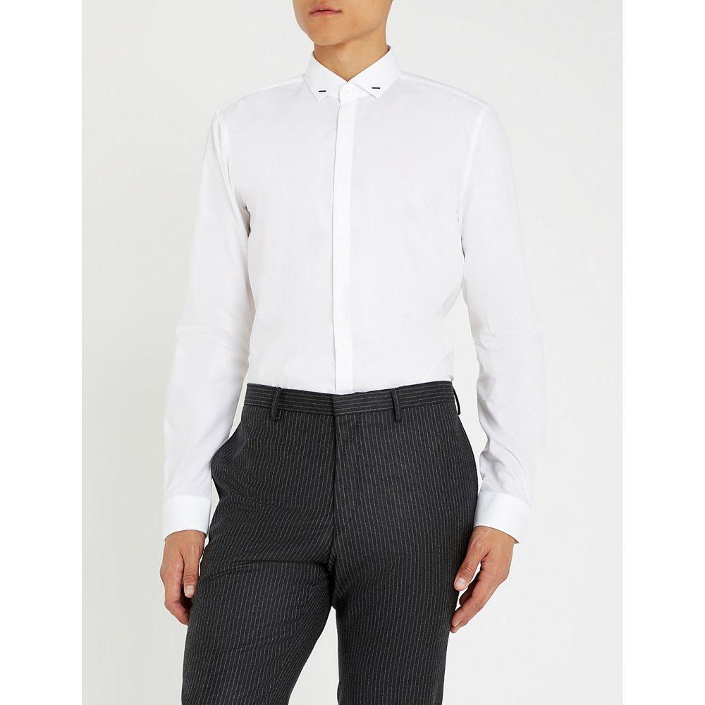 ヒューゴ ボス hugo メンズ トップス シャツ【extra slim-fit cotton-poplin shirt】Open white