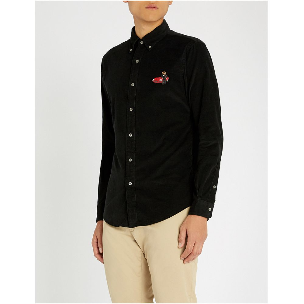 ラルフ ローレン polo ralph lauren メンズ トップス シャツ【bear-embroidered slim-fit corduroy shirt】Polo black