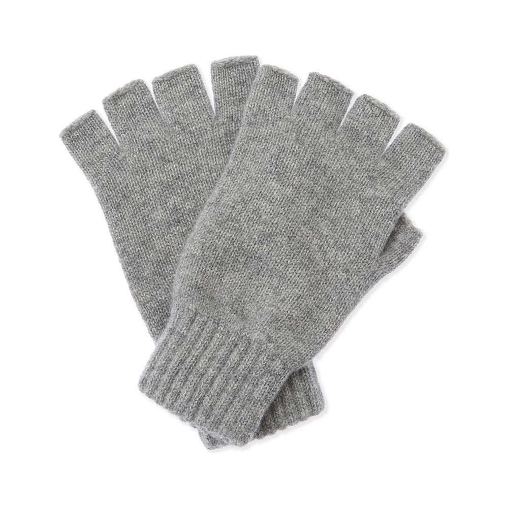 ジョンストンズ johnstons メンズ 手袋・グローブ【plain cashmere fingerless gloves】Light grey