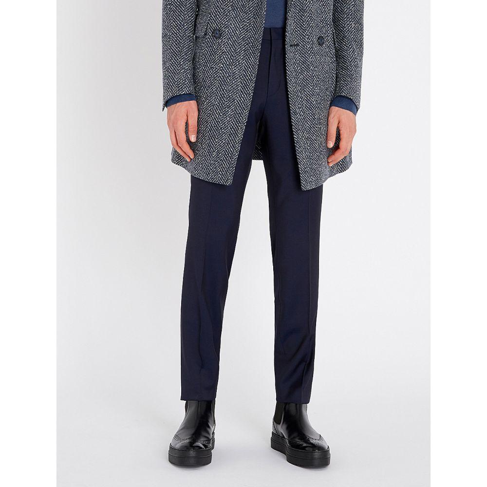 ヒューゴ ボス hugo メンズ ボトムス・パンツ スラックス【slim-fit straight wool trousers】Dark blue