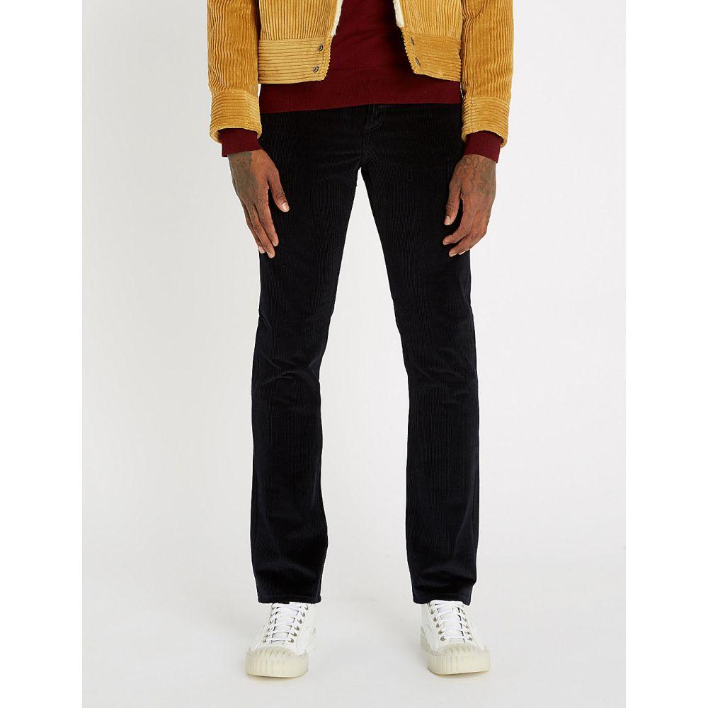 サンドロ straight-leg corduroy ボトムス・パンツ スキニー・スリム【slim-fit メンズ sandro trousers】Marine