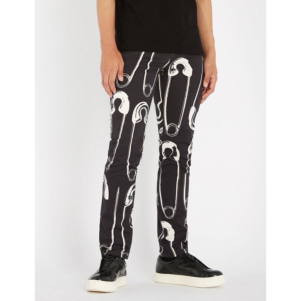モスキーノ moschino メンズ ボトムス・パンツ ジーンズ・デニム【paperclip-print slim-fit tapered jeans】Black