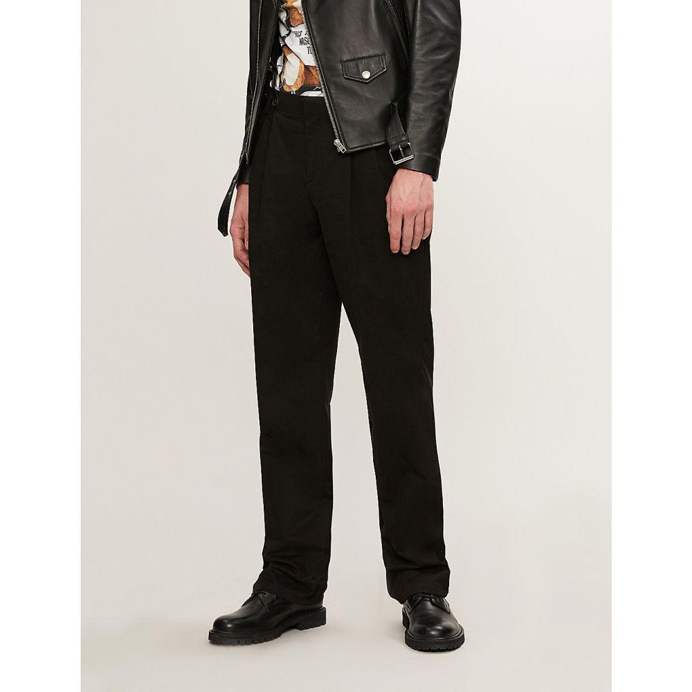 モスキーノ moschino メンズ ボトムス・パンツ【regular-fit wide cotton-blend trousers with braces】Black