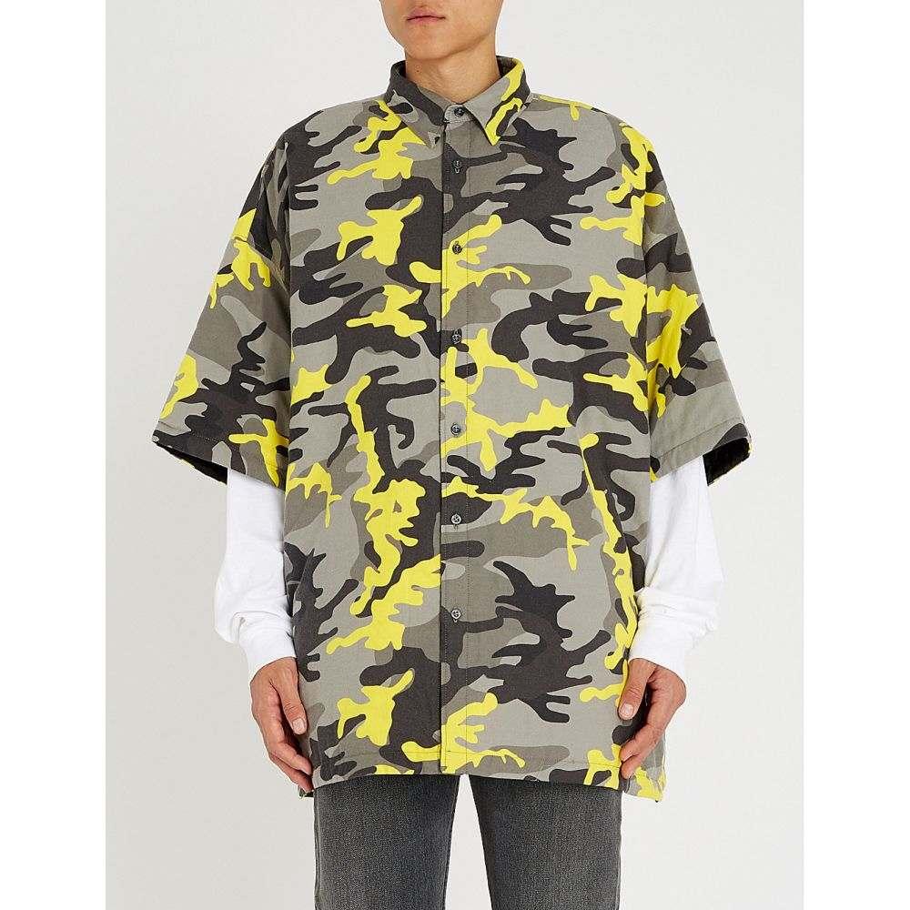 バレンシアガ balenciaga メンズ トップス 半袖シャツ【camouflage-print oversized cotton-twill shirt】Grey yellow