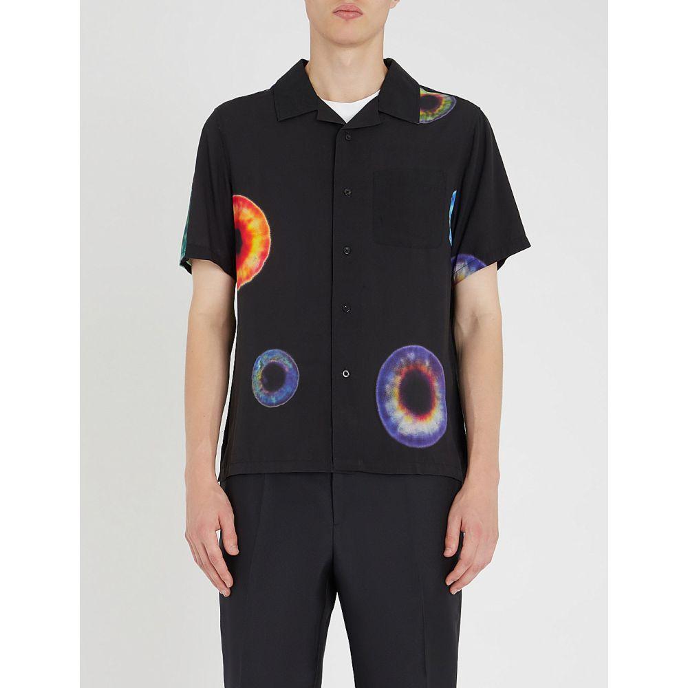ステューシー stussy メンズ トップス 半袖シャツ【iris-print woven shirt】Black