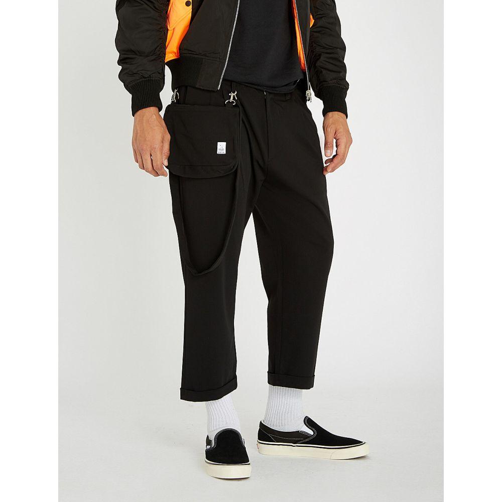 マジック スティック magic stick メンズ ボトムス・パンツ クロップド【cropped regular-fit woven wide-leg trousers】Black