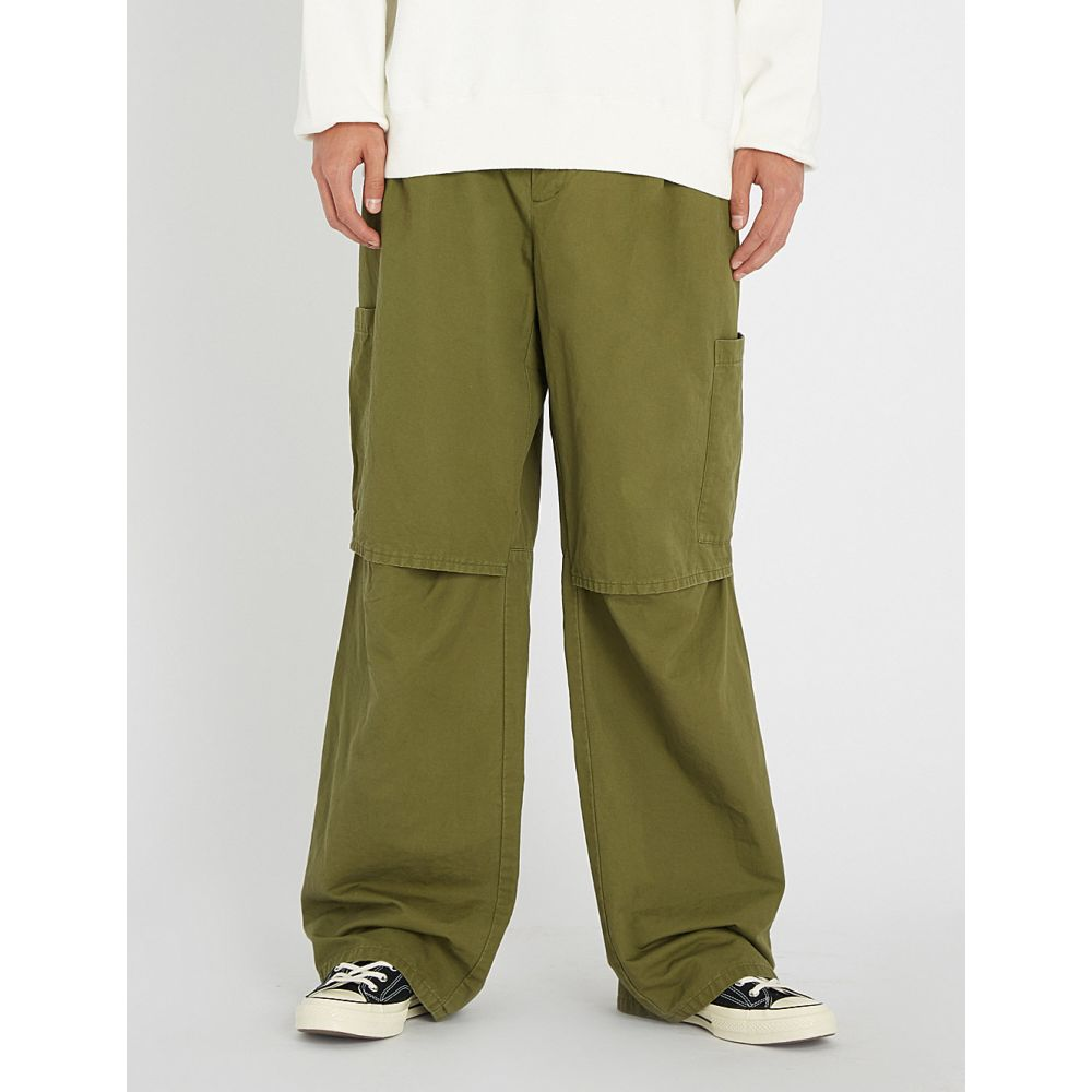 アンブッシュ ambush メンズ ボトムス・パンツ【panelled relaxed-fit straight cotton and linen-blend trousers】Olive