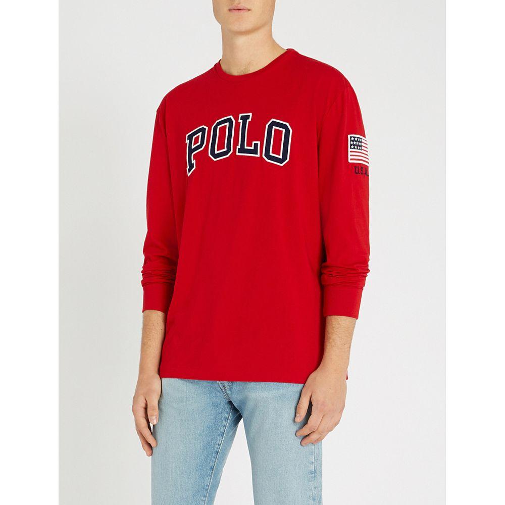 ラルフ ローレン polo ralph lauren メンズ トップス 長袖Tシャツ【logo long-sleeved cotton top】Ralph red