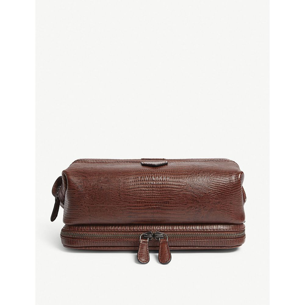 テッドベーカー ted baker メンズ ポーチ【chocks crocodile-embossed leather wash bag】Tan