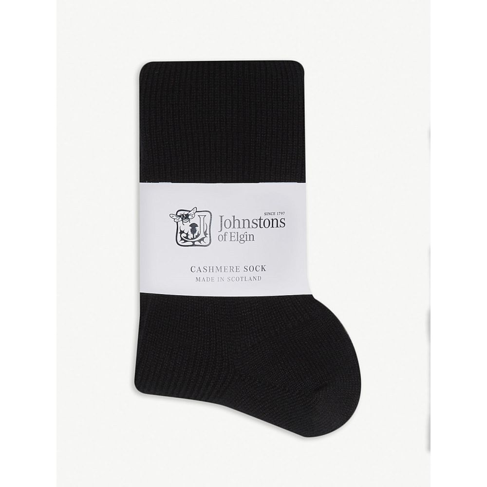 ジョンストンズ johnstons レディース インナー・下着 ソックス【ribbed cashmere socks】Black