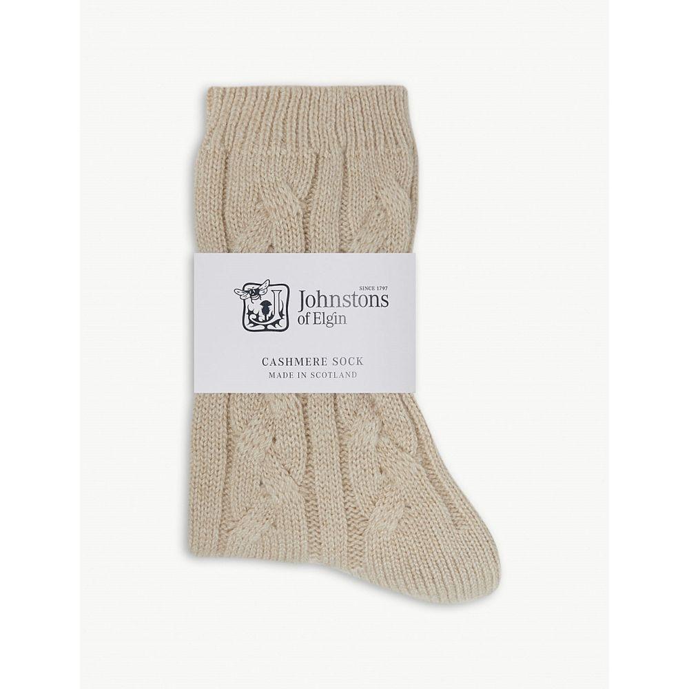ジョンストンズ johnstons レディース インナー・下着 ソックス【cable-knit cashmere socks】Natural