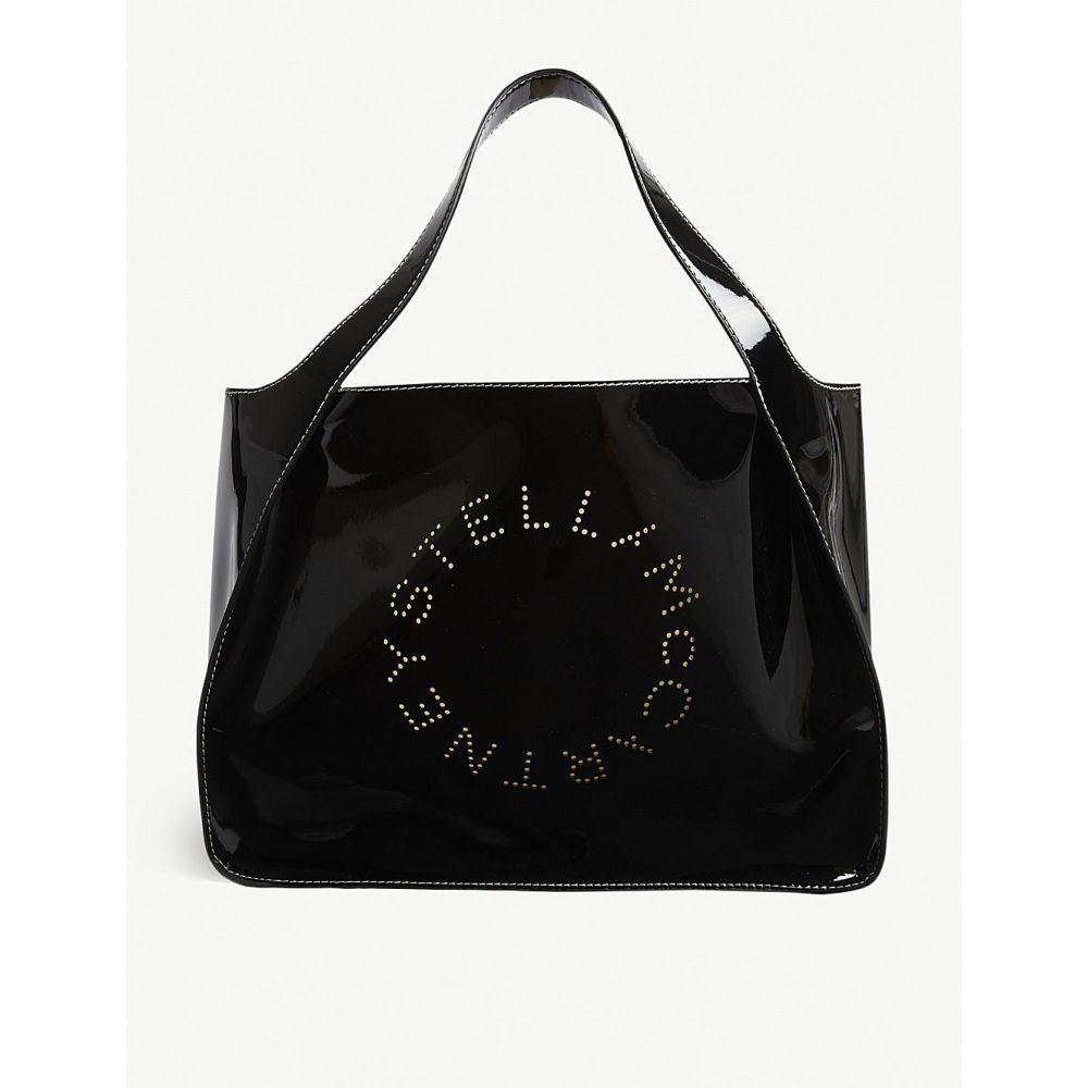 ステラ マッカートニー stella mccartney レディース バッグ トートバッグ【perforated logo patent faux-leather tote】Black