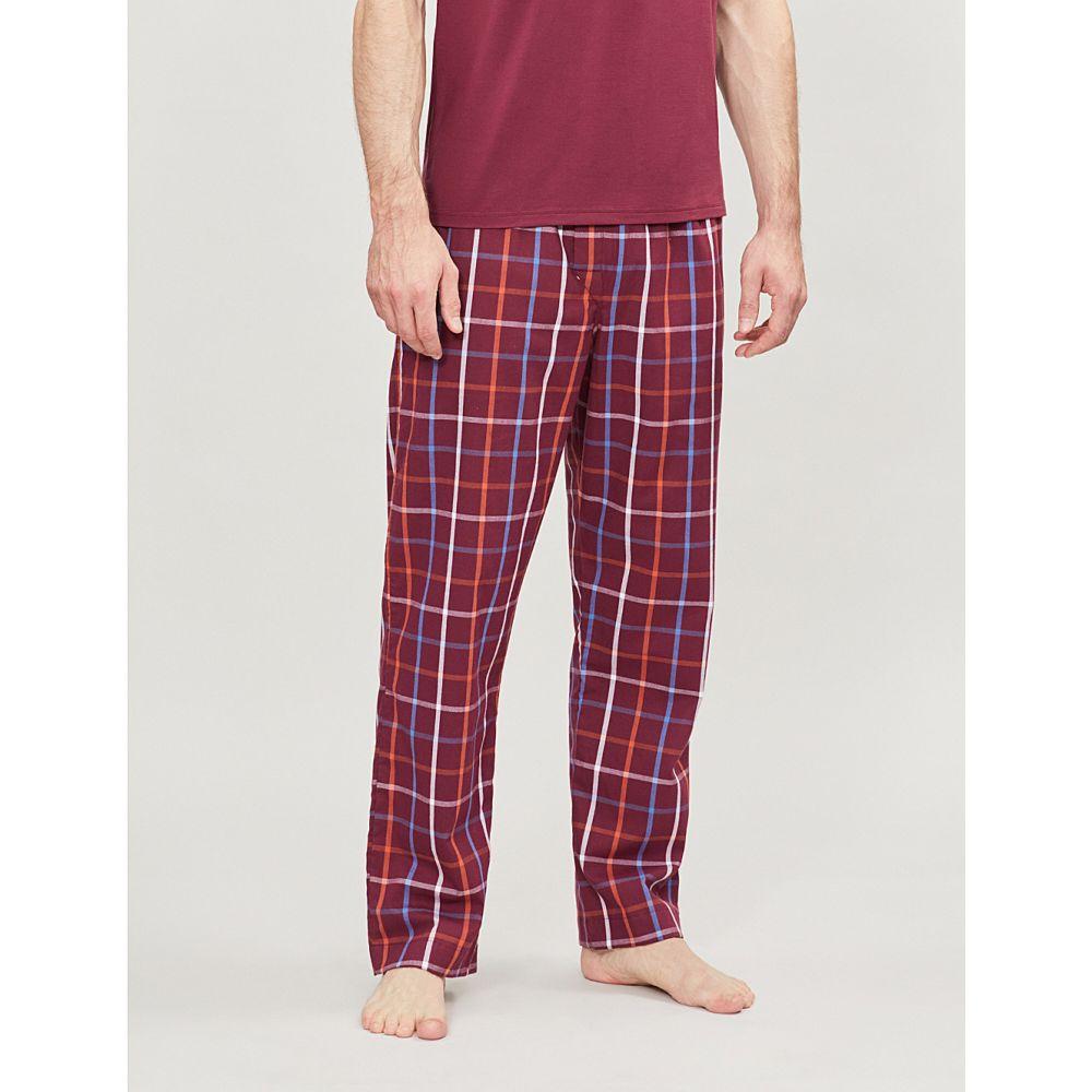 デリック ローズ derek rose メンズ インナー・下着 パジャマ・ボトムのみ【checked cotton pyjama bottoms】Red orange