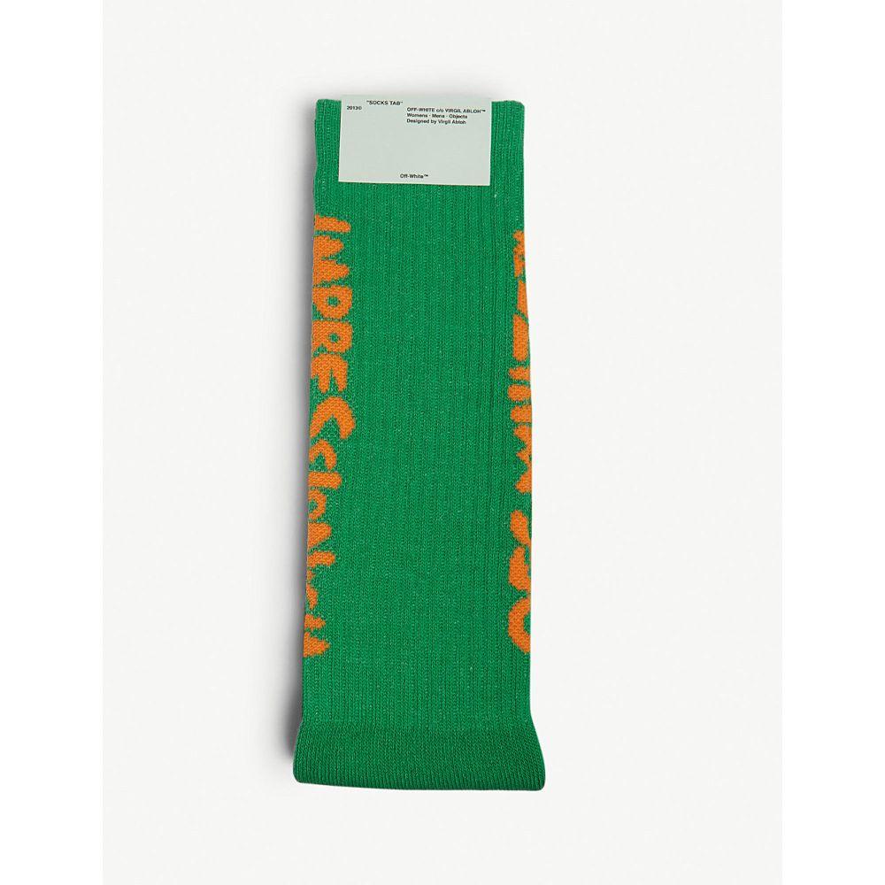 オフホワイト off-white c/o virgil abloh メンズ インナー・下着 ソックス【bubble logo cotton-blend socks】Green