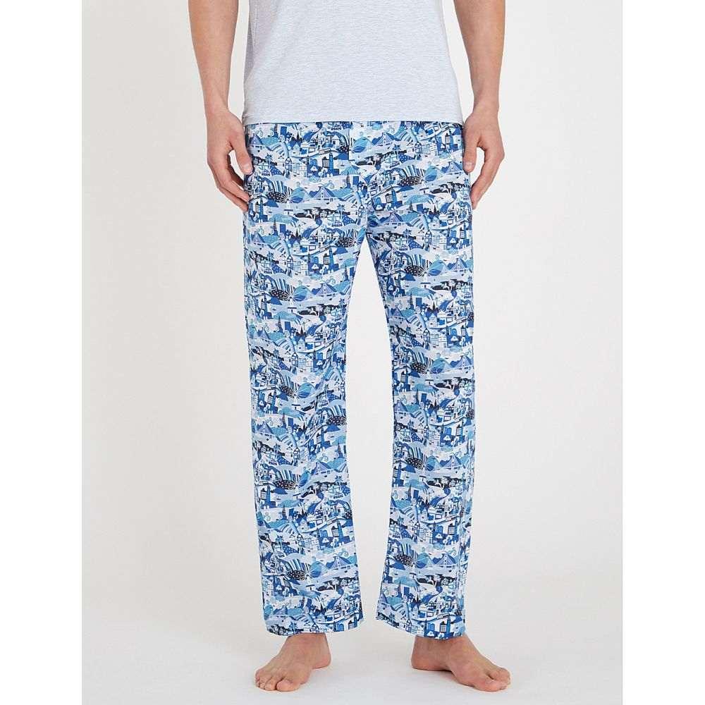 デリック ローズ derek rose メンズ インナー・下着 パジャマ・ボトムのみ【ledbury graphic-print cotton pyjama bottoms】Blu