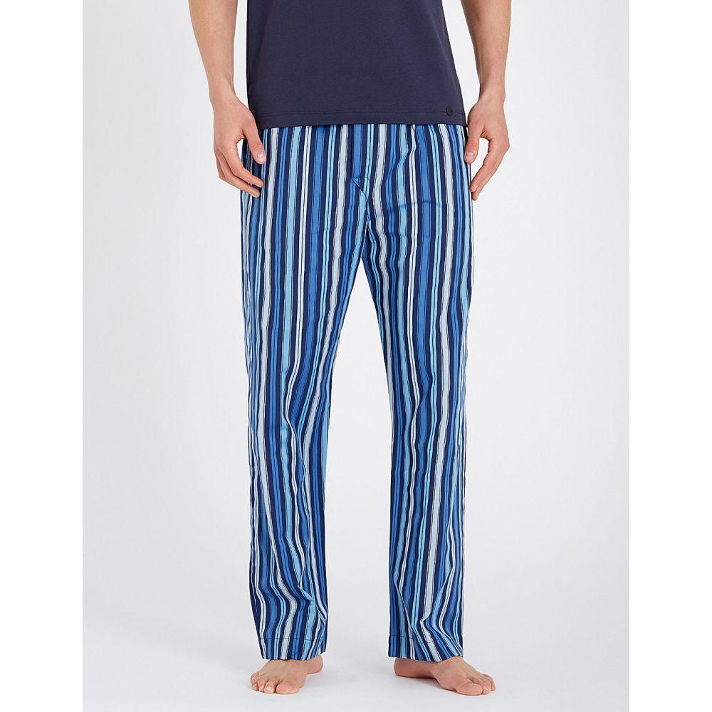 デリック ローズ derek rose メンズ インナー・下着 パジャマ・ボトムのみ【striped relaxed-fit cotton pyjamas】Royal blue