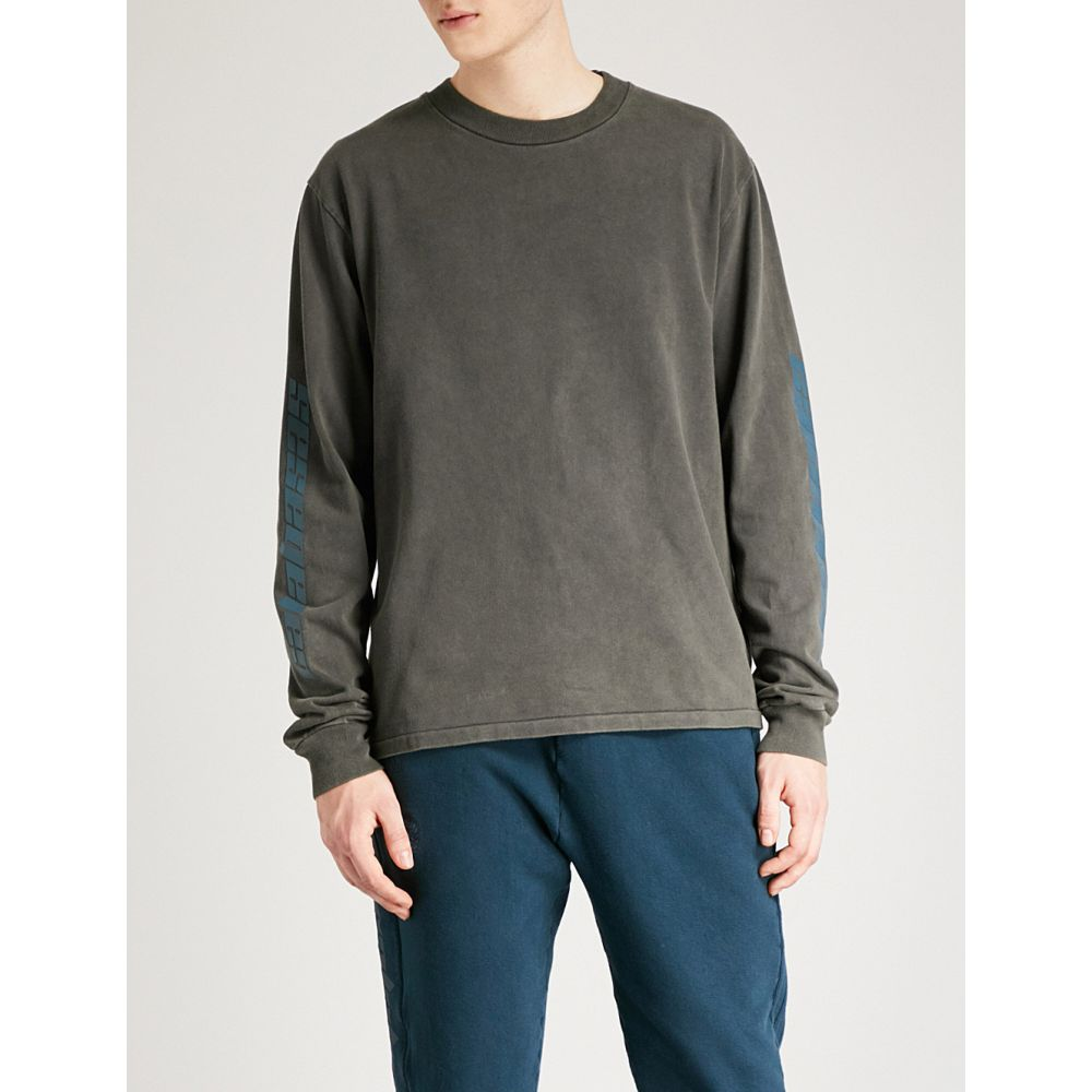 アディダス イージー yeezy メンズ トップス スウェット・トレーナー【season 6 calabasas-print cotton-jersey sweatshirt】Core indigo