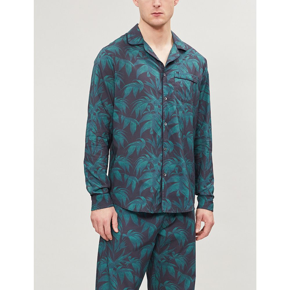 デスモンド アンド デンプシー desmond and dempsey メンズ インナー・下着 パジャマ・トップのみ【byron cotton pyjama shirt】Navy green