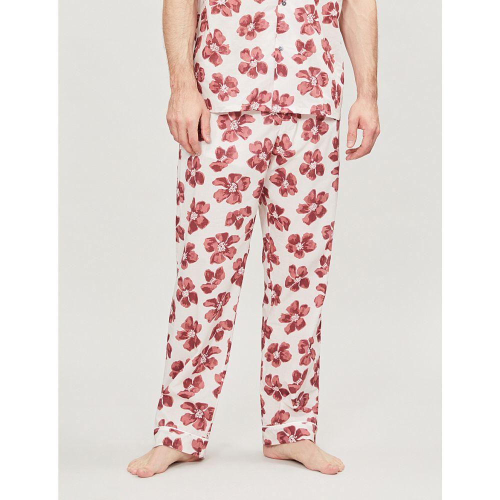 デスモンド アンド デンプシー desmond and dempsey メンズ インナー・下着 パジャマ・ボトムのみ【victor floral-print cotton pyjama bottoms】Red