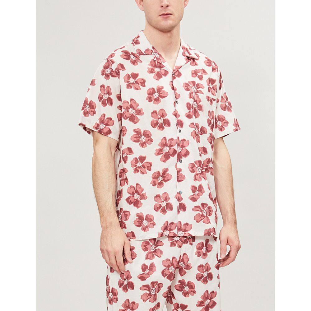 デスモンド アンド デンプシー desmond and dempsey メンズ インナー・下着 パジャマ・トップのみ【victor floral-print cotton pyjama shirt】Red