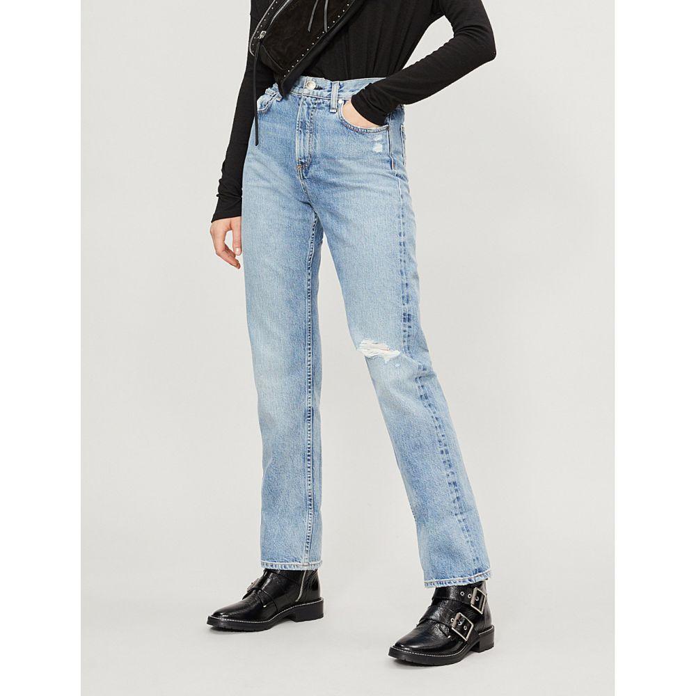 ラグ&ボーン rag & bone レディース ボトムス・パンツ ジーンズ・デニム【ripped straight mid-rise jeans】Quincy