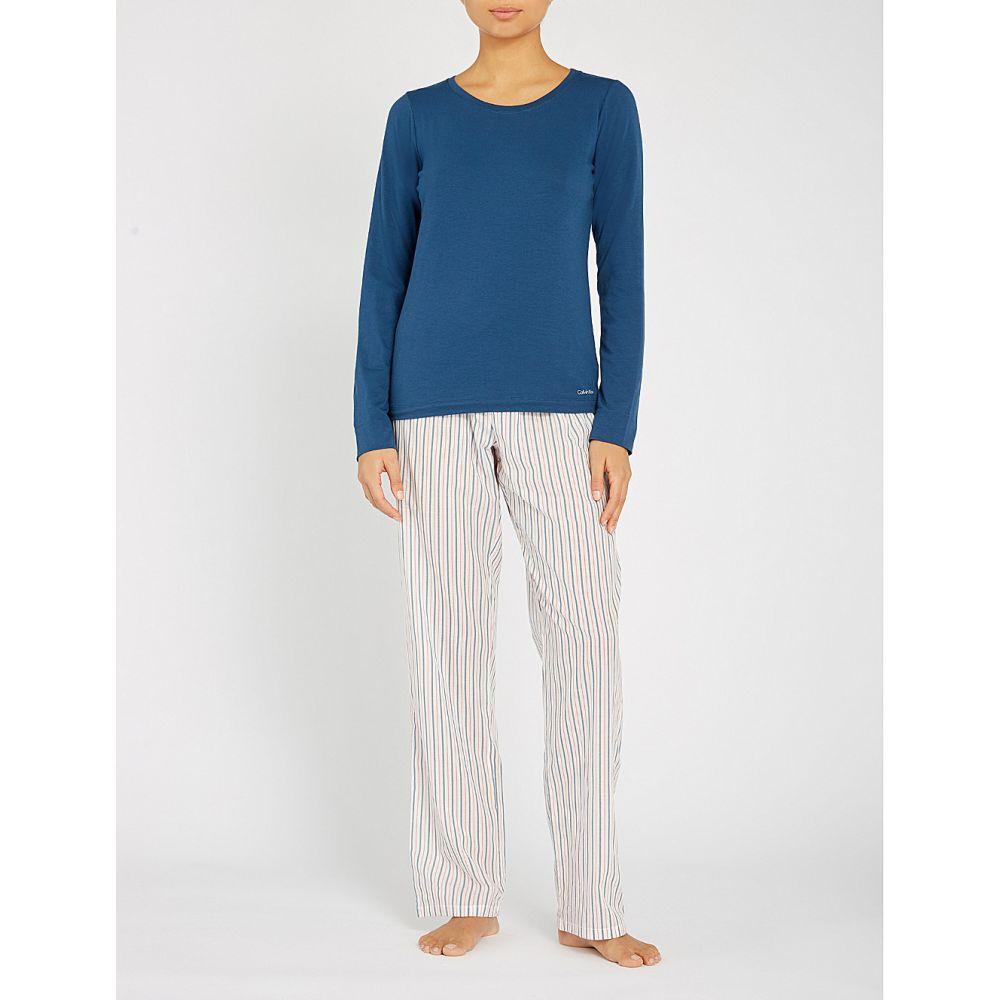 カルバンクライン calvin klein レディース インナー・下着 パジャマ・上下セット【stretch-cotton pyjama set with bag】Ybu sterling stripe