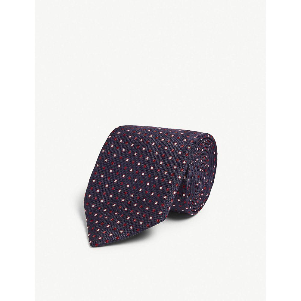 ビギ クラバッテ bigi cravatte メンズ ネクタイ【square tile pattern linen tie】Navy