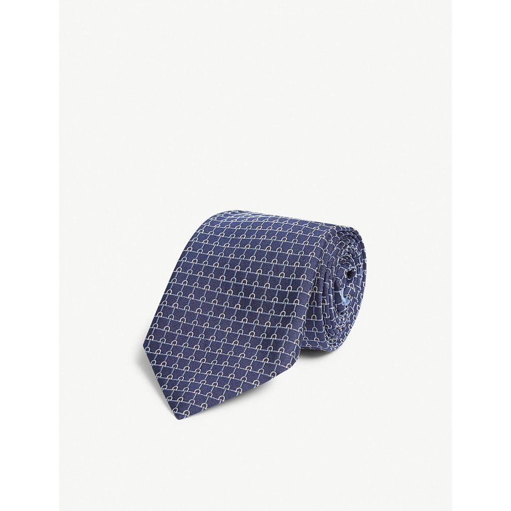 サルヴァトーレ フェラガモ salvatore ferragamo メンズ ネクタイ【geometric print tie】Blue