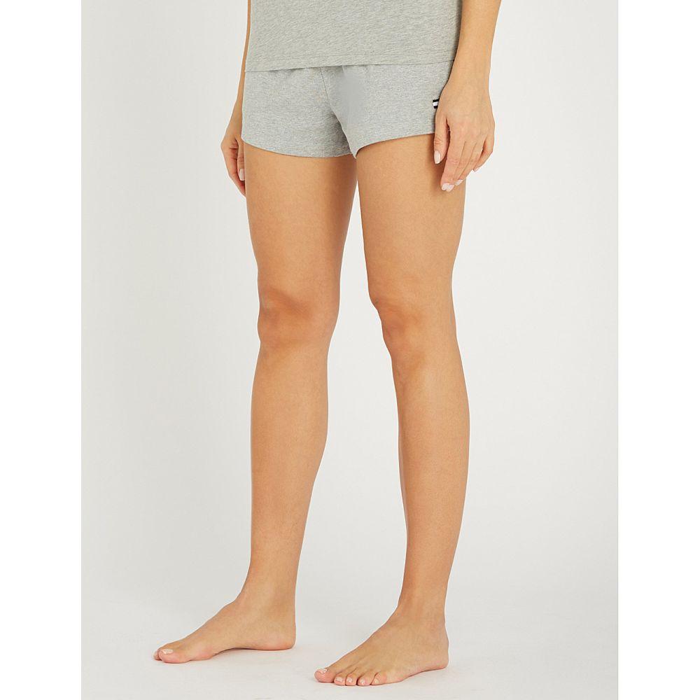 トミー ヒルフィガー tommy hilfiger レディース インナー・下着 パジャマ・ボトムのみ【logo-embroidered stretch-cotton pyjama shorts】Grey heather