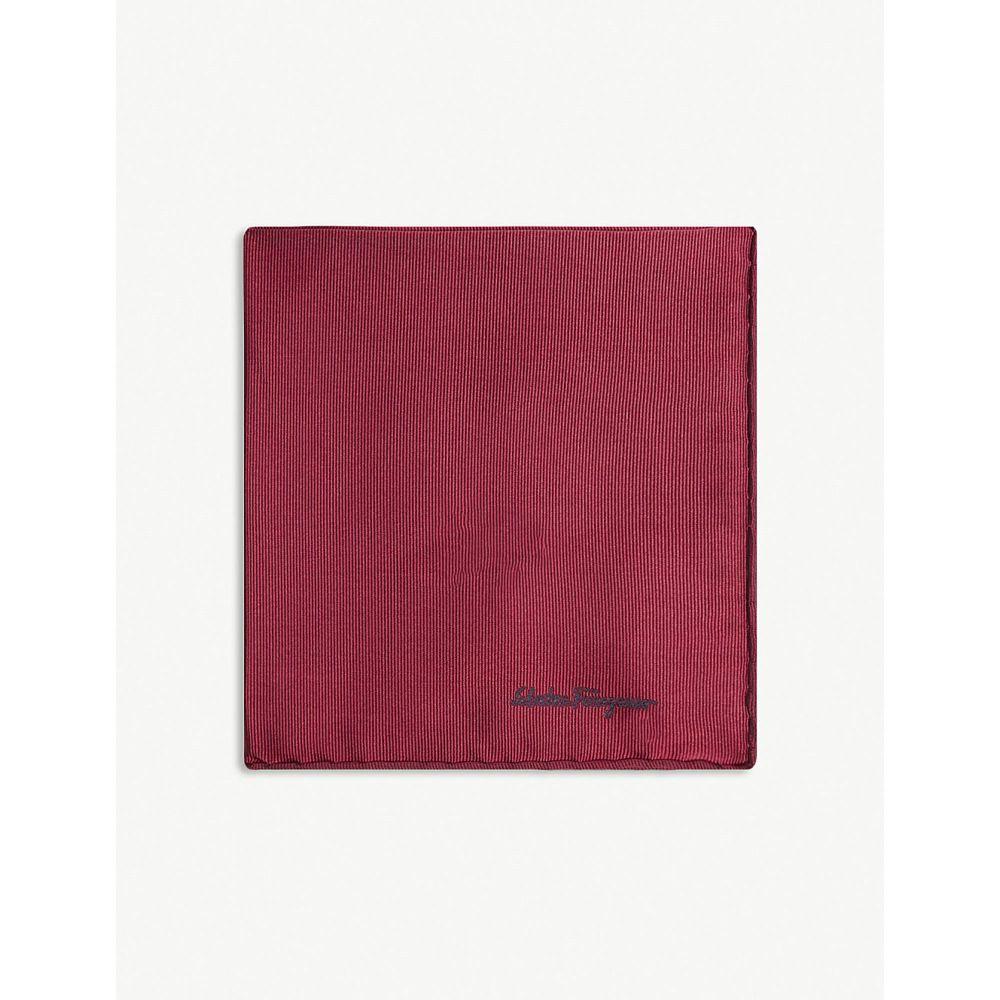 サルヴァトーレ フェラガモ salvatore ferragamo メンズ ハンカチ・チーフ【logo silk pocket square】Red