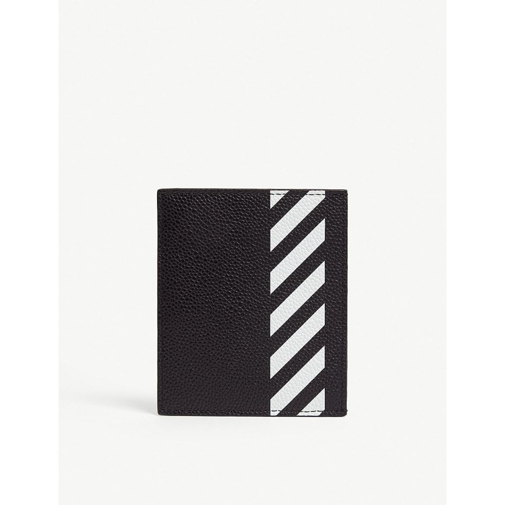 オフホワイト off-white c/o virgil abloh メンズ カードケース・名刺入れ【diagonal stripe leather card holder】Black white