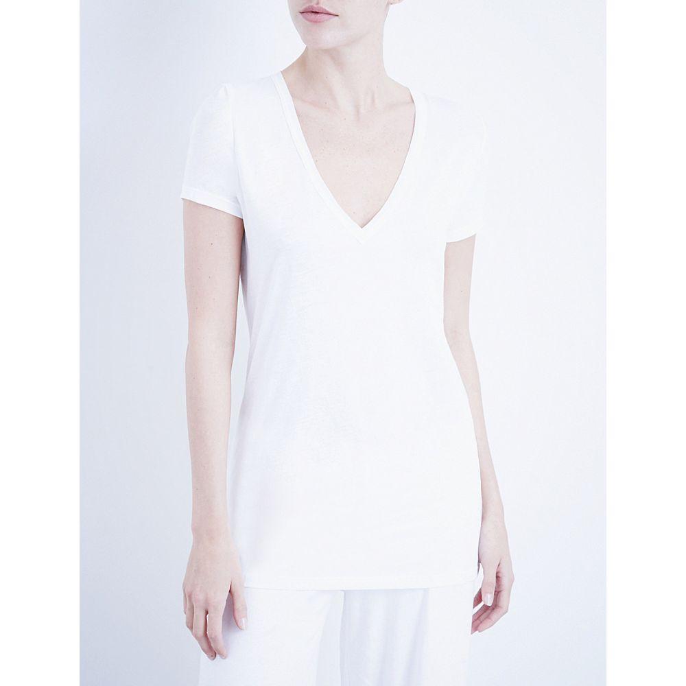 スキン skin レディース インナー・下着 パジャマ・トップのみ【v-neck easy pima-cotton t-shirt】White