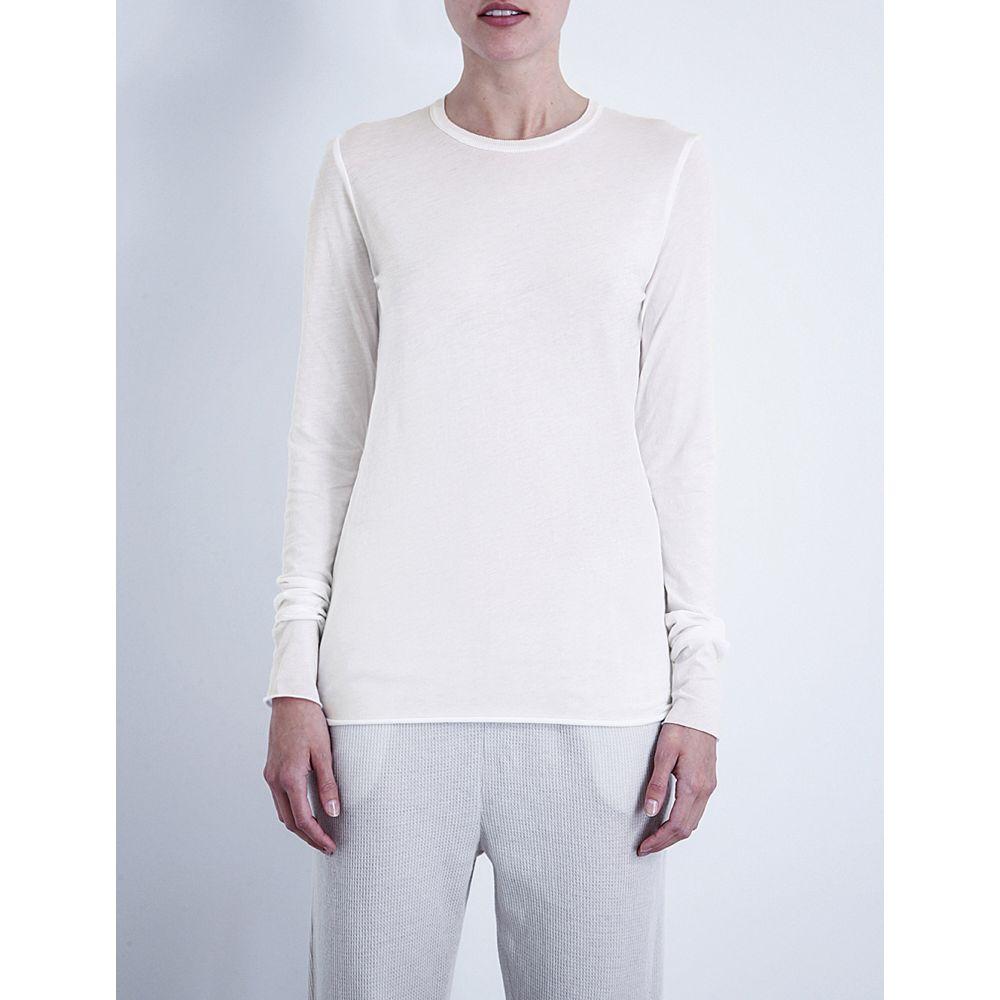 スキン skin レディース インナー・下着 パジャマ・トップのみ【long-sleeved pima-cotton jersey top】White