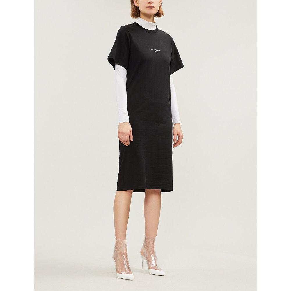 ステラ マッカートニー stella mccartney レディース ワンピース・ドレス ワンピース【logo-print cotton-jerey t-shirt dress】Black