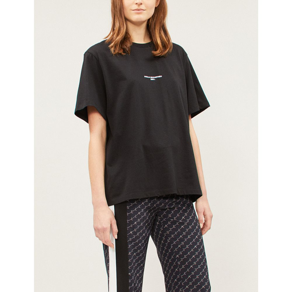 ステラ マッカートニー stella mccartney レディース トップス Tシャツ【logo-print cotton-jersey t-shirt】Black