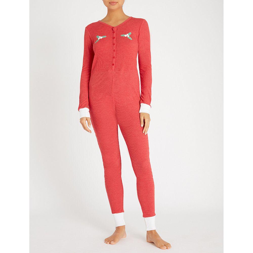 ワイルドフォックス wildfox レディース インナー・下着 パジャマ・上下セット【holiday fox printed jersey onesie】Scarlet - clean white