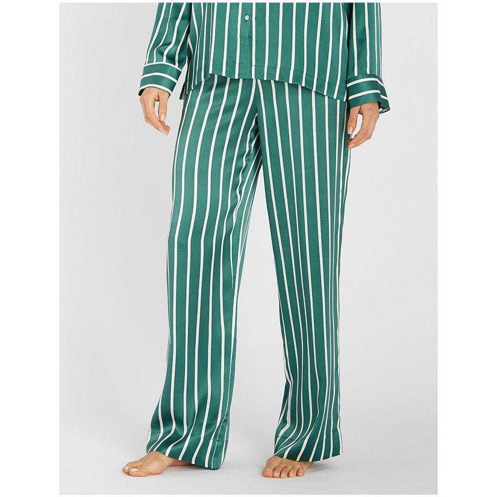 アッセーノ asceno レディース インナー・下着 パジャマ・ボトムのみ【small stripe silk-satin pyjama bottoms】Bottle green stripe