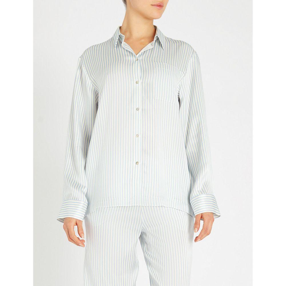 アッセーノ asceno レディース インナー・下着 パジャマ・トップのみ【denise striped silk-satin pyjama top】Blue stripe