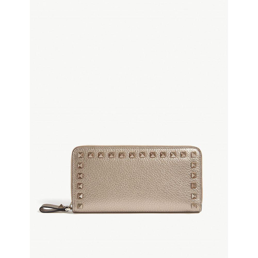 ヴァレンティノ valentino レディース 財布【rockstud leather zip around wallet】Rose gold