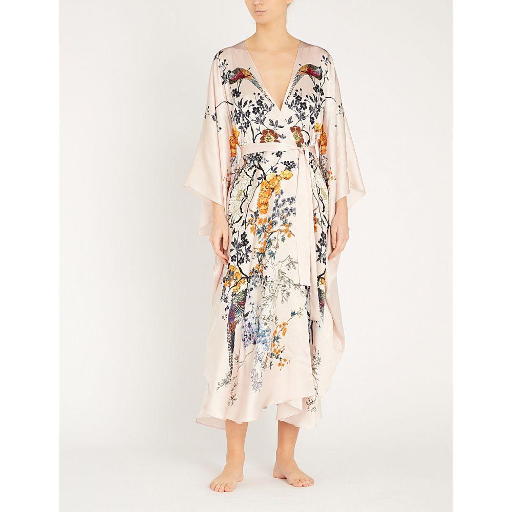 メン meng レディース インナー・下着 ガウン・バスローブ【floral-pattern batwing-sleeve silk robe】Pink