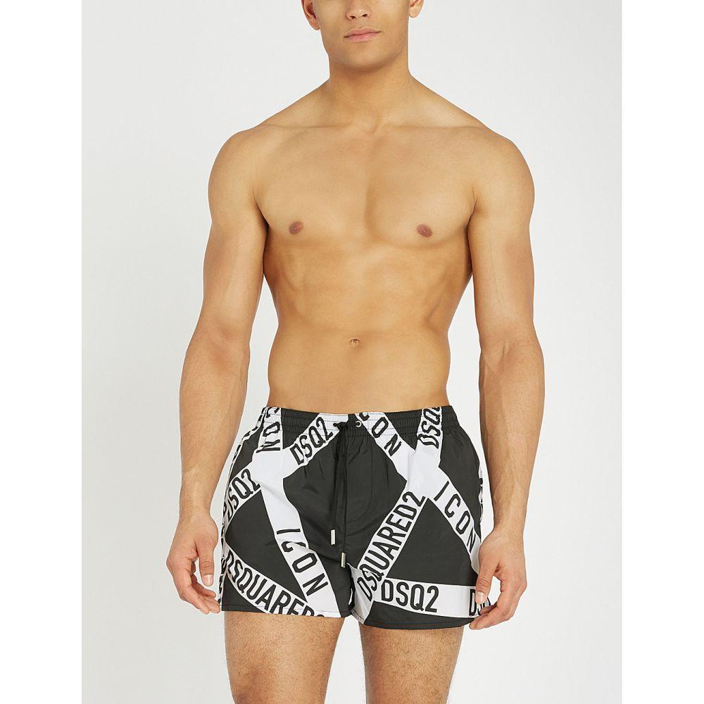 ディースクエアード dsquared2 メンズ 水着・ビーチウェア 海パン【relaxed-fit firetape print swim shorts】Black