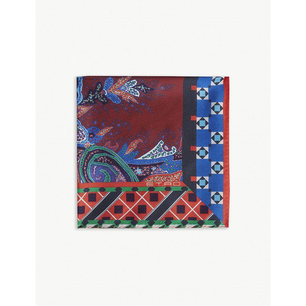 エトロ etro メンズ ハンカチ・チーフ【geometric paisley pattern silk pocket square】Red